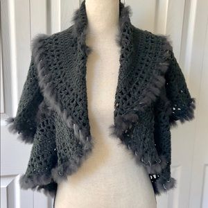 Michelle Nicole Fur Lined Open Knit Cardigan